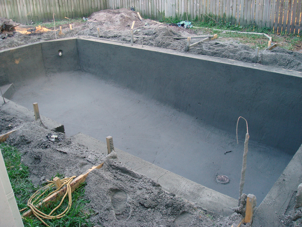 a pool installation being done in Maricop County